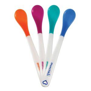 MUNCHKIN – 4 Cucchiai Termosensibili per la Pappa Multicolore