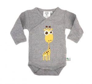 EMMIS KLEMMIS – Body in Cotone Biologico Maniche Lunghe Giraffa