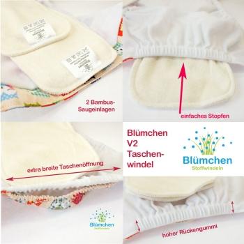 blumchen pannolini lavabile rane inserti in cotone biologico bottoni