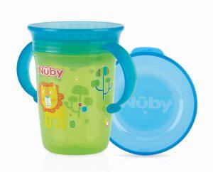 NUBY – Bicchiere Antigoccia con Manici e Coperchio Verde