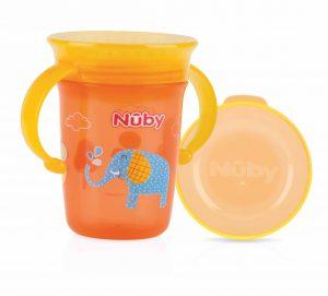 NUBY – Bicchiere Antigoccia con Manici e Coperchio Arancione