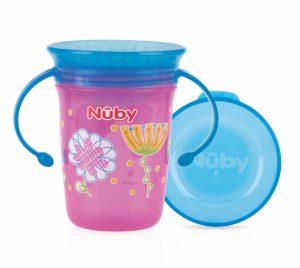 NUBY – Bicchiere Antigoccia con Manici e Coperchio Rosa