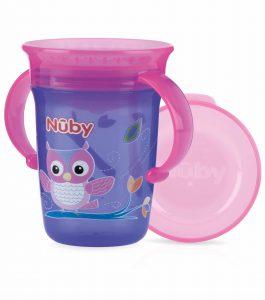 NUBY – Bicchiere Antigoccia con Manici e Coperchio Viola