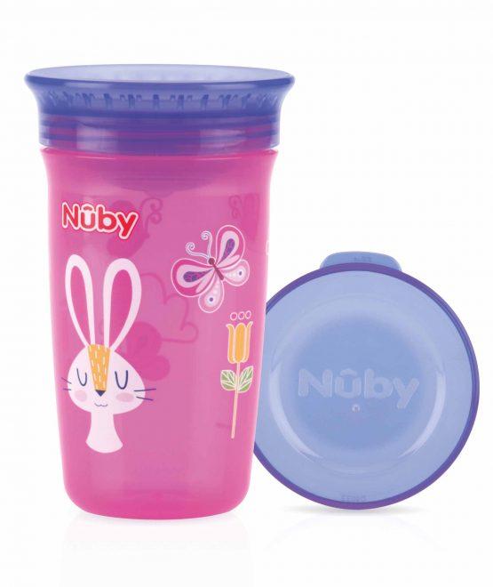 NUBY- Bicchiere Antigoccia con Coperchio Rosa