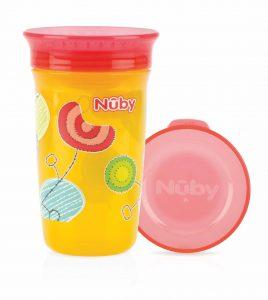 NUBY- Bicchiere Antigoccia con Coperchio Giallo