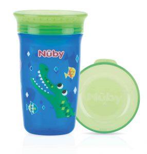 NUBY- Bicchiere Antigoccia con Coperchio Coccodrillo