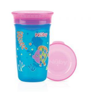 NUBY- Bicchiere Antigoccia con Coperchio Pesci