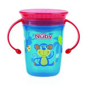NUBY – Bicchiere Antigoccia con Manici e Coperchio Blu