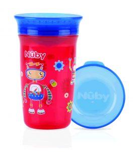 NUBY- Bicchiere Antigoccia con Coperchio Robot